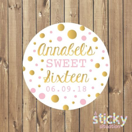 Personalised 'Sweet Sixteen' Stickers - Pink and Gold Design